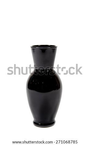Black vase on a white background - stock photo