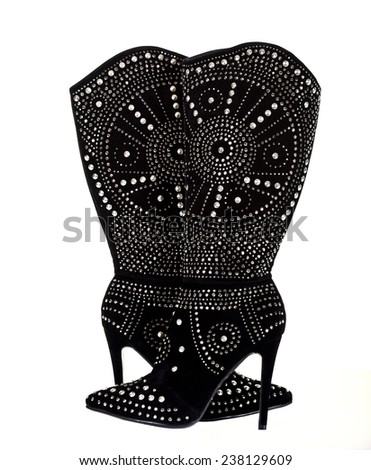 Black Velvet Boots with Metal Studs on a White Background - stock photo