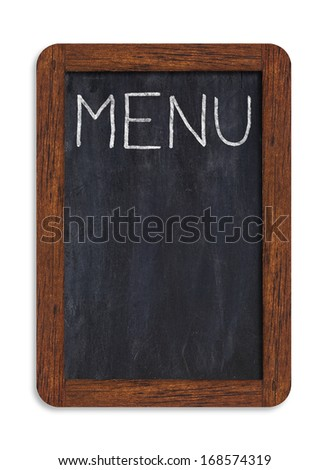 """Black vertical chalkboard with """"menu"""" handwriting including clipping path - stock photo"""