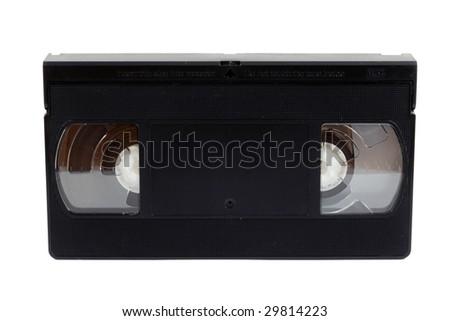 black VHS cassette isolated on white - stock photo