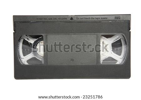 Black VHS video cassette on white background - stock photo