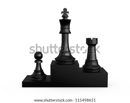 Black victory podium with chess pieces, first king, second rook, third pawn, isolated on white background. - stock photo