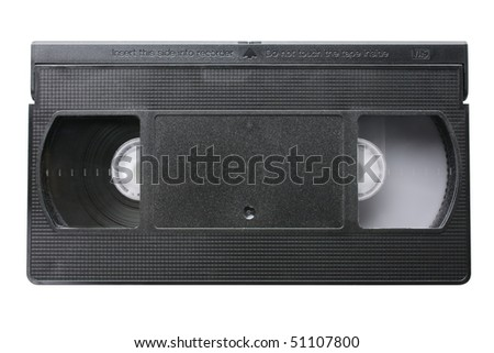 black video cassette without label isolated on white background - stock photo