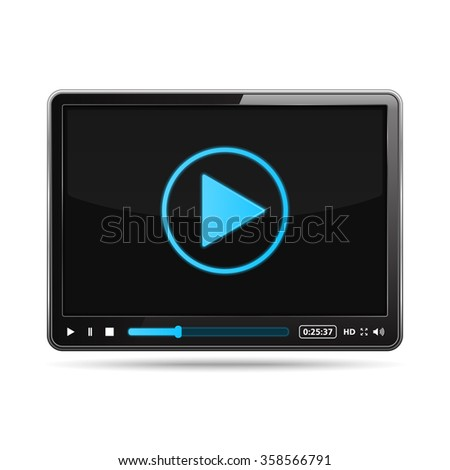 Black video player design template