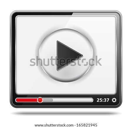 Black video player with white screen, video player icon