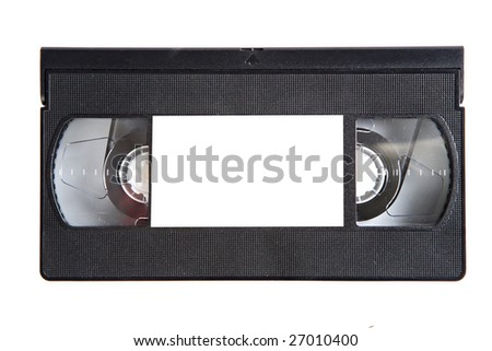 Black videotape on a over white background - stock photo