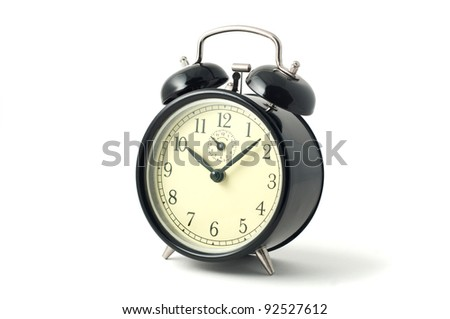 Black Vintage Alarm Clock on white background