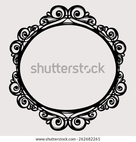 Black vintage border  frame engraving  with retro ornament pattern in antique rococo style decorative design - stock photo