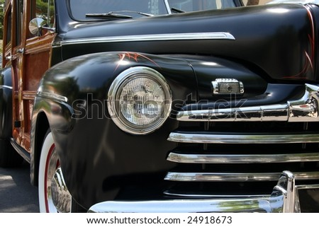 Black vintage car - stock photo