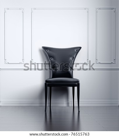black vintage chair in white room (3D rendering) - stock photo
