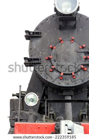 Black vintage  locomotive isolated on white - stock photo