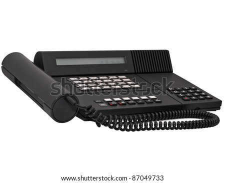 Black vintage office system phone isolated on white background