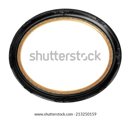 Black vintage oval photo wooden frame isolated with clipping path.            - stock photo