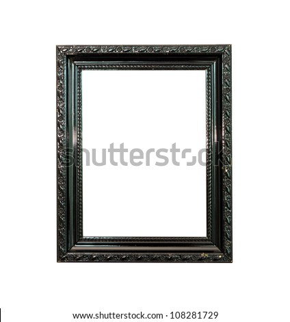 Black Vintage picture frame, wood plated, old wood  background, clipping path included - stock photo