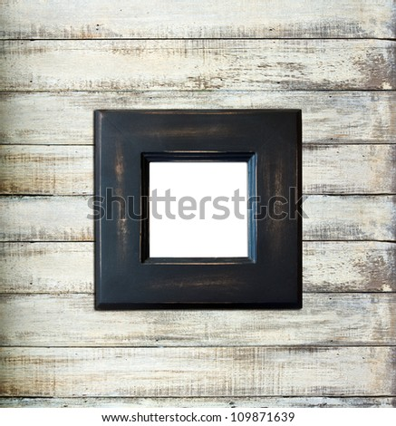 Black Vintage picture frame, wood plated, old wood background, clipping path included