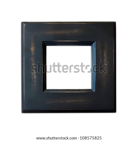 Black Vintage picture frame, wood plated, white background, clipping path included