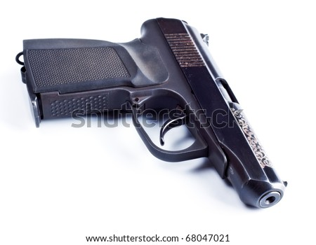 black vintage pistol isolated on white