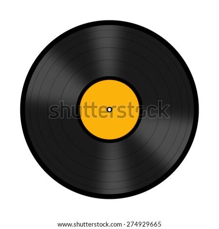Black vinyl record disc isolated on white background - stock photo