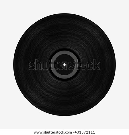 Black vinyl record isolated on white background, digital illustration art work.