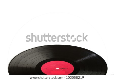 Black vinyl record LP discs; isolated on white. Label red. Your text. - stock photo