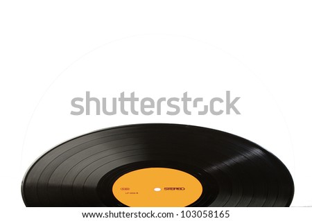 Black vinyl record LP discs; isolated on white. Label yellow. Your text. - stock photo