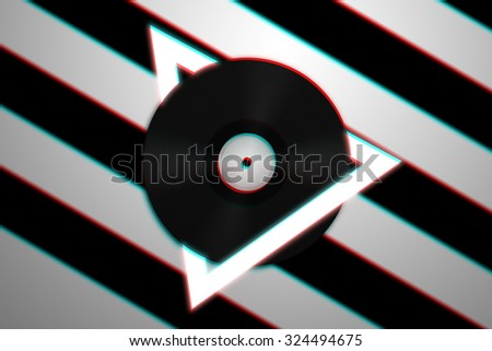 Black vinyl record with White Triangle - Music Concept - 3d Anaglyph Image - stock photo