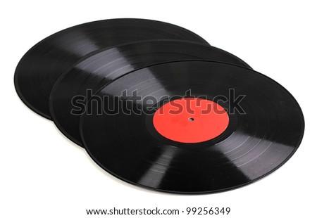 Black vinyl records isolated on white - stock photo