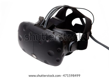 Black VR headset isolated on white background. Virtual reality eyeglasses