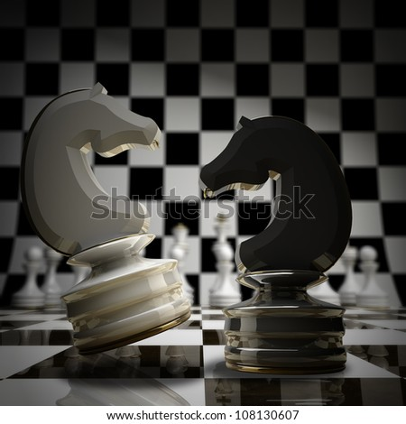 Black vs wihte chess horse background 3d illustration. high resolution