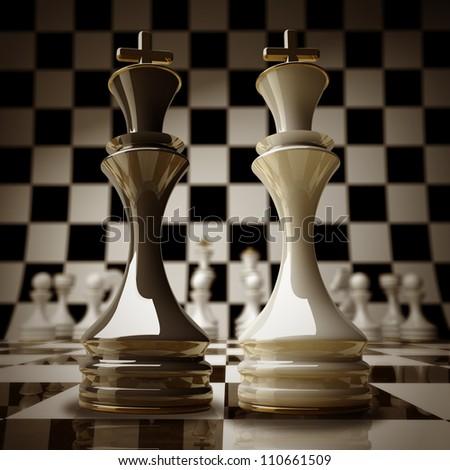 Black vs wihte chess king background sepia tone 3d illustration. high resolution - stock photo