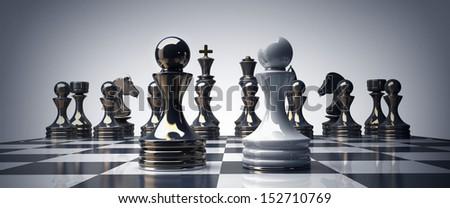 Black vs wihte chess pawn background 3d illustration. high resolution  - stock photo
