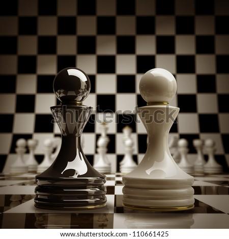 Black vs wihte chess pawn background sepia tone 3d illustration. high resolution - stock photo