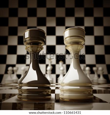 Black vs wihte chess rook background sepia tone 3d illustration. high resolution - stock photo