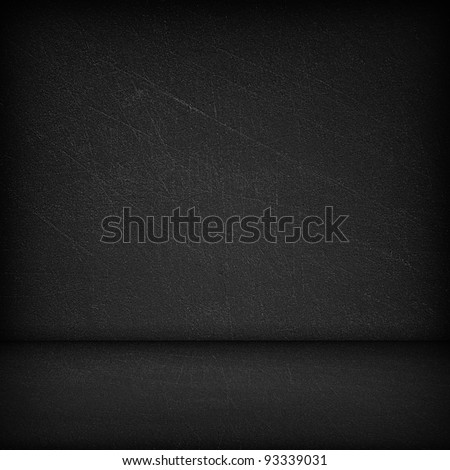 Black wall and black floor interior background - stock photo