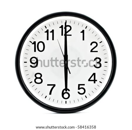 Black wall clock isolated - stock photo
