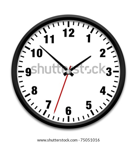 Black wall clock isolated on white - stock photo