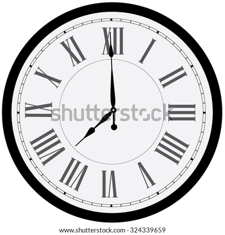 Black wall clock raster isolated. Clock on wall shows eight o'clock. Roman numeral clock - stock photo