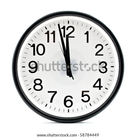 Black wall clock, two minutes to twelve - stock photo