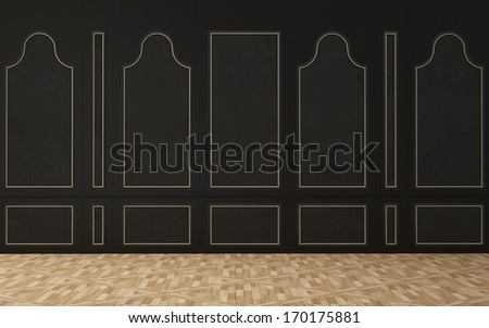Black wall in a classic style, wooden floor - stock photo