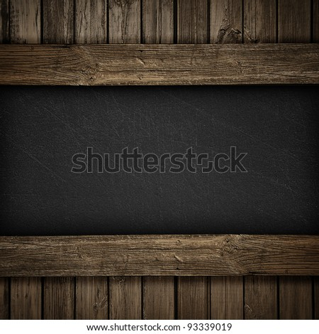 Black wall on wood background or texture - stock photo