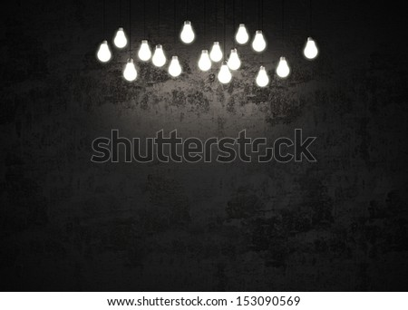 black wall with light bulbs - stock photo