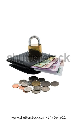 black wallet and  locked on the white background. Financial Security Concepts - stock photo
