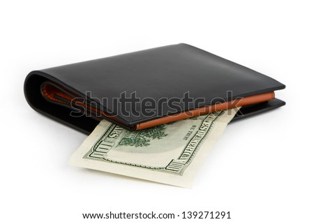 Black wallet and one hundred dollars on a white background - stock photo