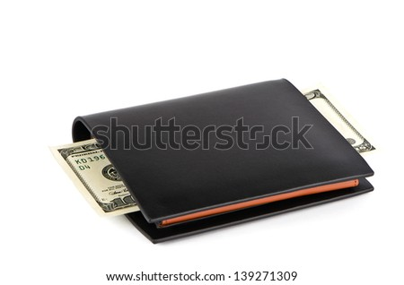 Black wallet and one hundred dollars on a white background