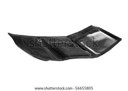 Black wallet isolated on white background - stock photo