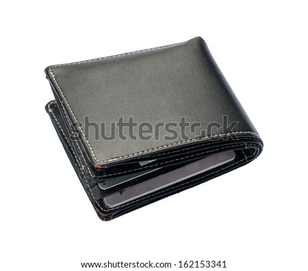 Black wallet leather on a white background