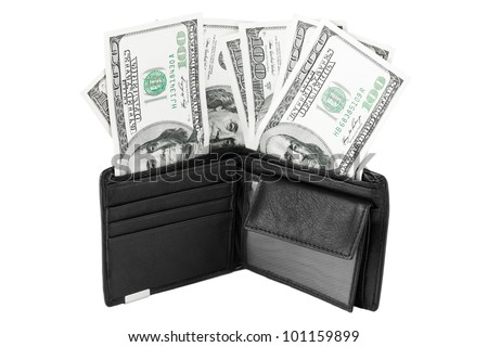 Black Wallet with dollars on a white background