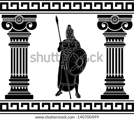 black warrior with with columns. first variant. raster variant - stock photo