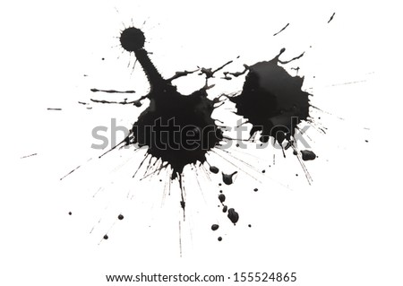 Black watercolor blob, isolated on white - stock photo