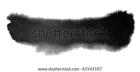 black watercolor brush strokes - stock photo